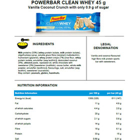 PowerBar Clean Whey Riegel Box Vanilla Coconut Crunch 18 x 45g